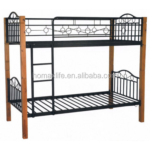 Bedroom furniture metal bunk bed with wooden post