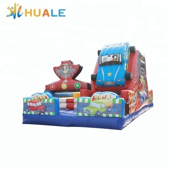 Cartoon design Kids inflatable dry slide racing car inflatable slide for kids