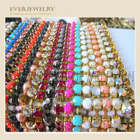 fancy multicolor rhinestone brass cup chain for garment accessories