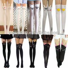 Elegant Pantyhose,Sexy Tights,lingerie,Sexy Black White Cat Tattoo Socks Sheer Pantyhose Mock Stockings Tights Leggings