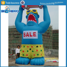 Custom Giant Inflatable Blue Gorilla with Car model