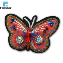Latest beaded embroidery sequin butterfly patches for blouses decoration