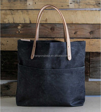 Vintage and high quality denim and leather bags , vintage denim tote bags , waxed denim tote bag