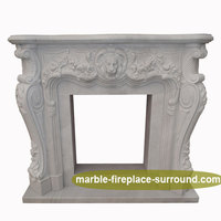 exquisite design lion head white marble stone gas burner fireplace mantel