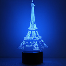 Creative visual stereo LED touch switch The gradient small night light Discus the Eiffel Tower 3 d lamp