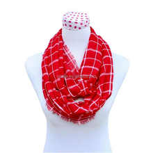Fashion ladies cotton plaid infinity scarf