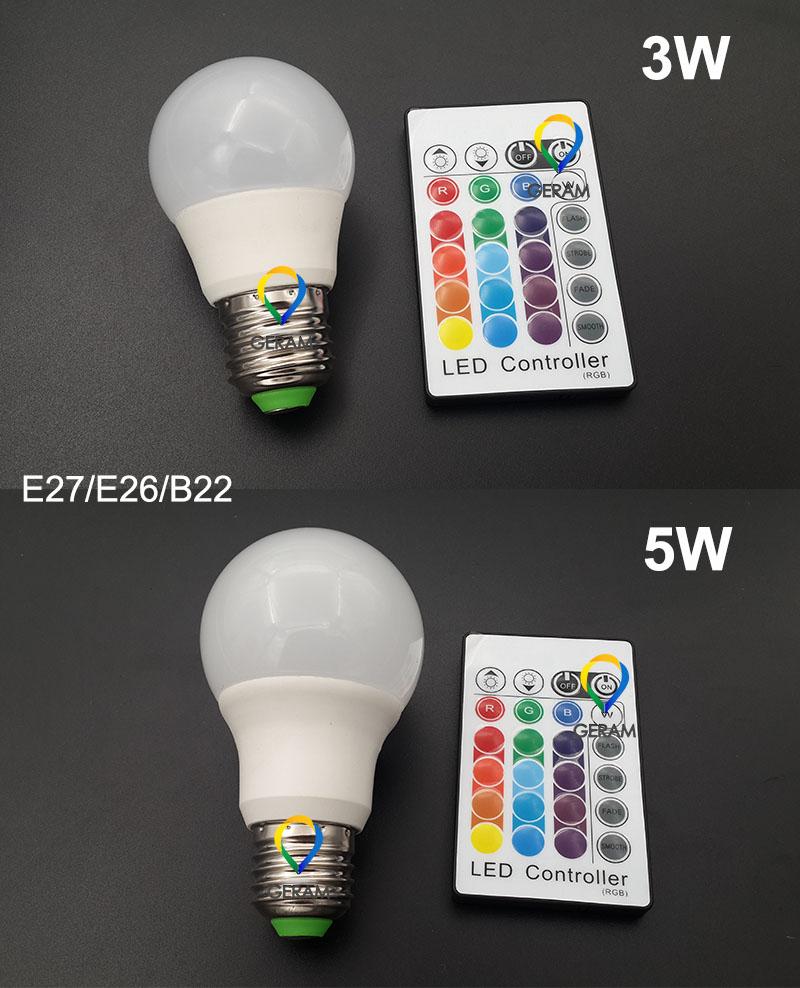 16 цветов Пульт дистанционного управления 3 Вт 5 Вт e27 e26 b22 СВЕТОДИОДНАЯ лампа rgb цветная лампа