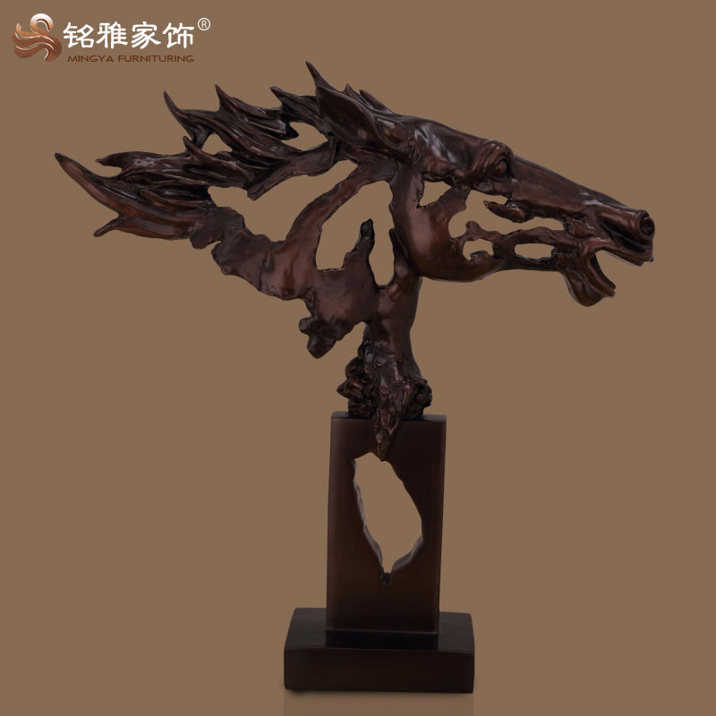 wholesale antique bronze polyresin resin material horse head sculptures