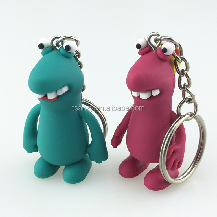 custom design animal shaped silicone rubber cartoon 3d keychain