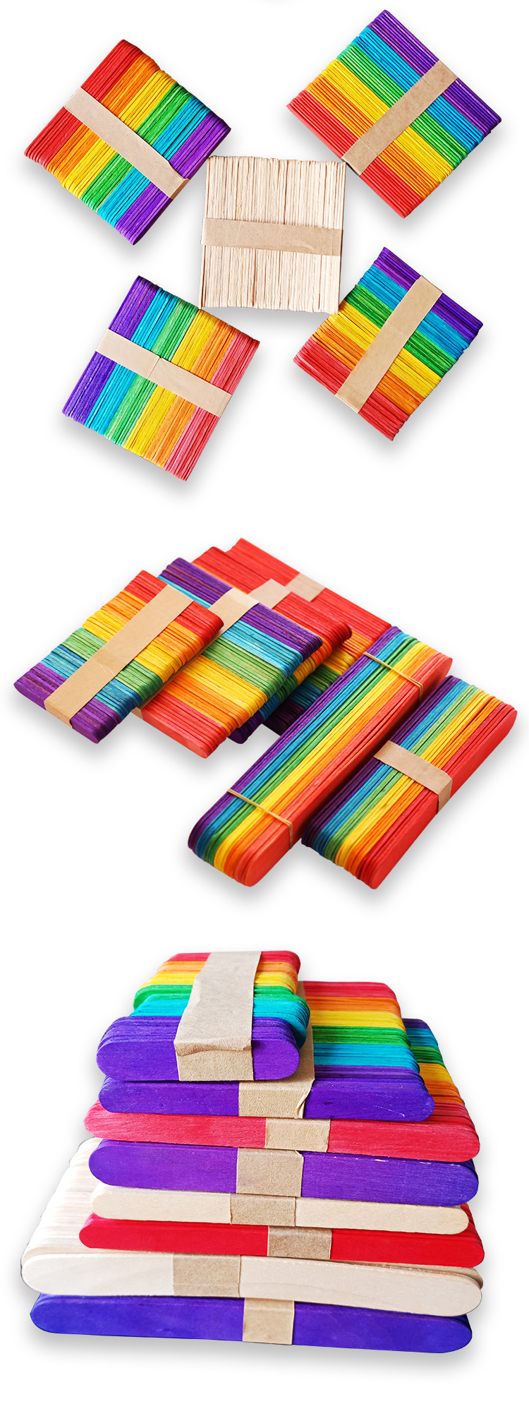 Colored wood craft popsicle sticks for DIY Art Crafts Kids Hand Crafts Art Tool