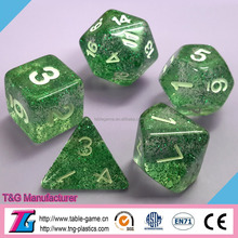 High quality plastic dice decoration with glitter effect