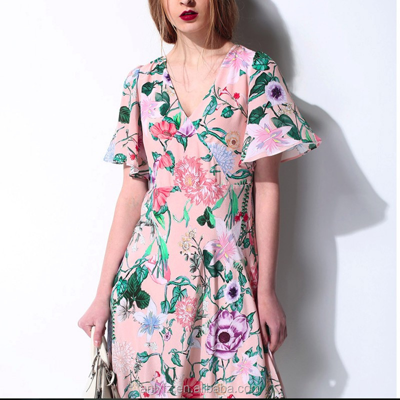 Pictures of latest gowns designs flower pattern round collar A-line dress girl's one piece party dresses