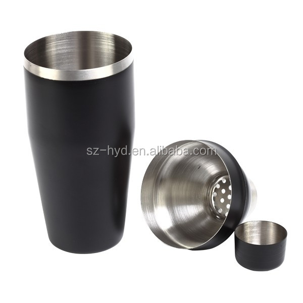 750ml Stainless Steel Black Finich Cocktail Shaker For Home Or Bar