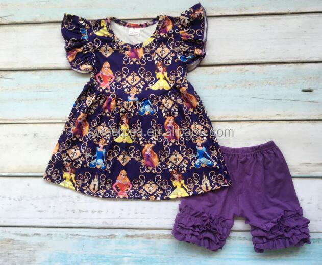 89bc8356cb75 New fashion persnickety baby girl clothes flutter sleeve princess pattern  dress match shorts wholesale children clothing