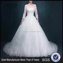 MGOO New White Lace Applique Off Shoulder Long Sleeves Women Wedding Dress 2015 Made In China 2052