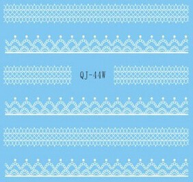 White Lace Sticker Cute 3d water transfer sticker for nail art & LACE #404
