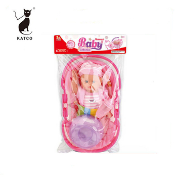 Wholesale Hot Item 13 Inch Lifelike Reborn Baby Doll Toy Mini Vinyl Doll With Bottle And Cradle
