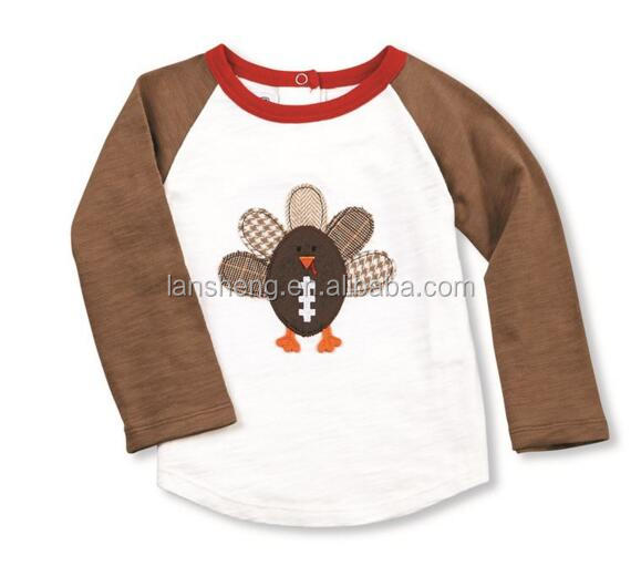 Adorable Cotton Turkey Applique Children Reglan T-shirt