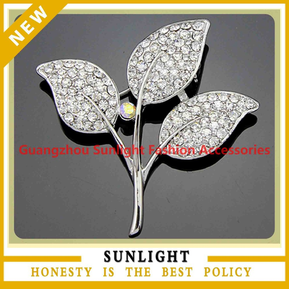 royal fashion rhinestone top grade decorative leaf brooch for dresses