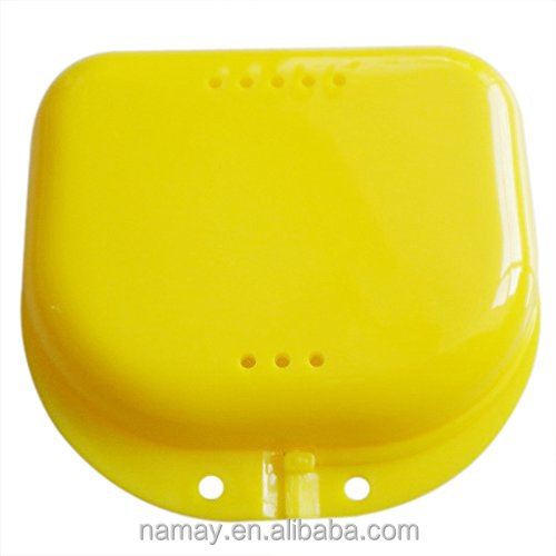 Dental Colourful Plastic Denture storage retainer box with slot