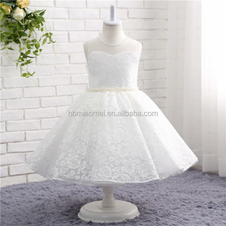 2017 white color simple design western wear one pcs girl dress kids wear lace wedding dress for girls