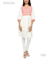 Ladies White Kurta Cotton on Printed Pattern Designs HSD2288