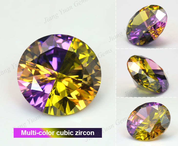 pear cut cz pink&white mixed color gemstone