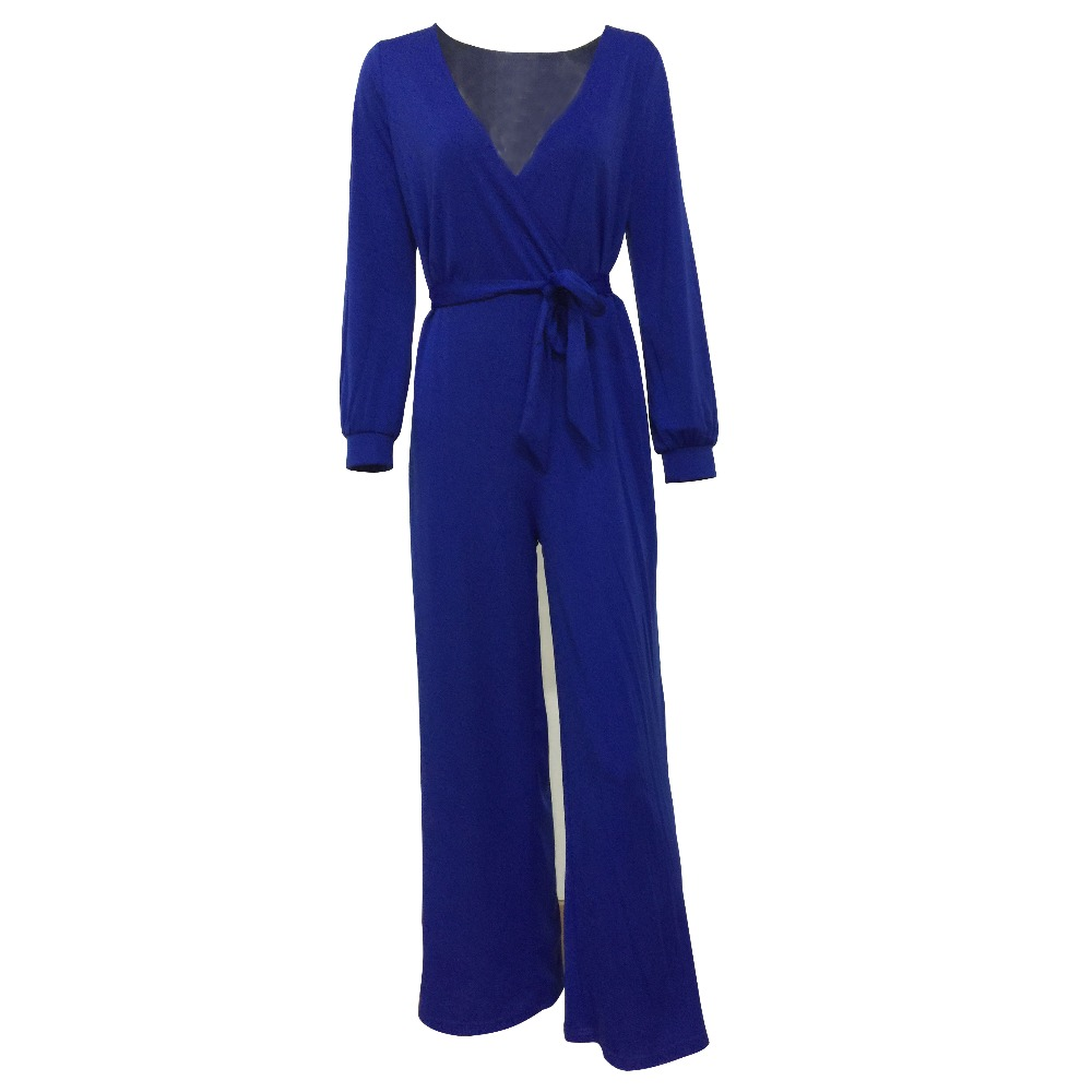 <strong>Plus</strong> Size V collar Belted Long Sleeves Jumpsuit For Women L55283-1