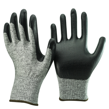 NMSAFETY 13 gauge black smooth nitrile coated cut resistant working gloves