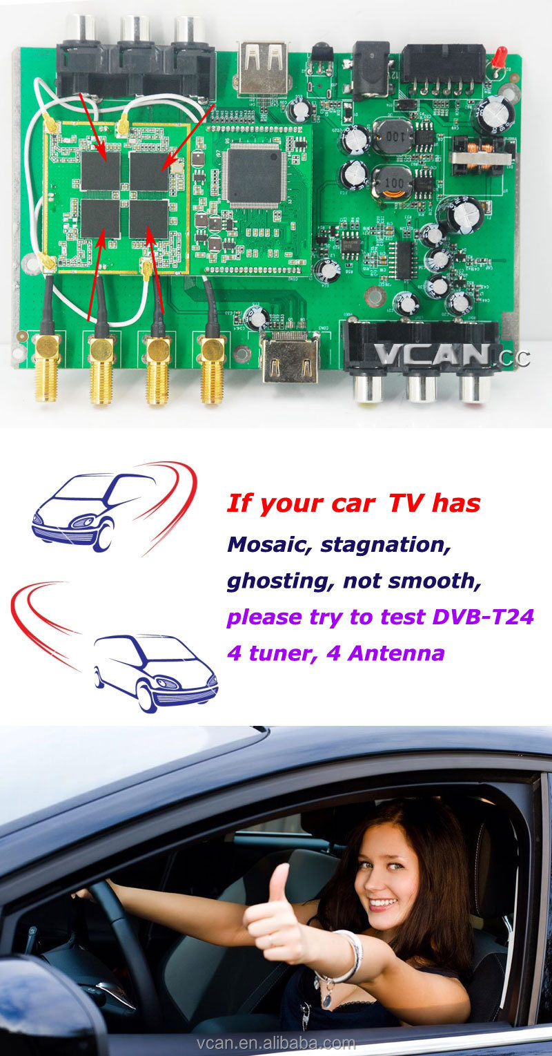DVB-T24 Car DVB-T2 TV tuner USB HDTV 4 Tuners4 antenna High Speed