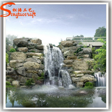 Factory design large outdoor artificial fiberglass decoration waterfall rocks for gardens