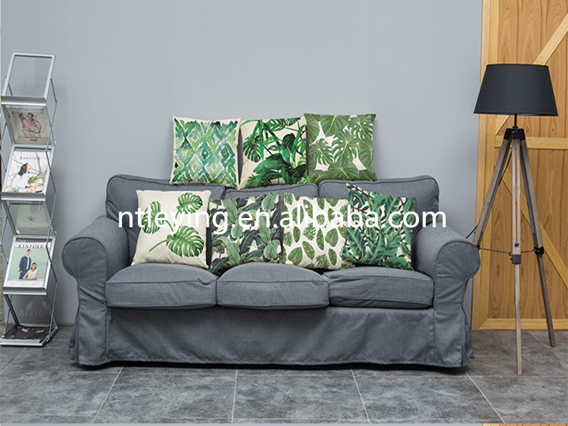 Tropical Cushion Cover for Couch Square Canvas Accent Palm Tree Leaves Decor Pillow Cover Green Sofa Standard Pillowcase LYKP048