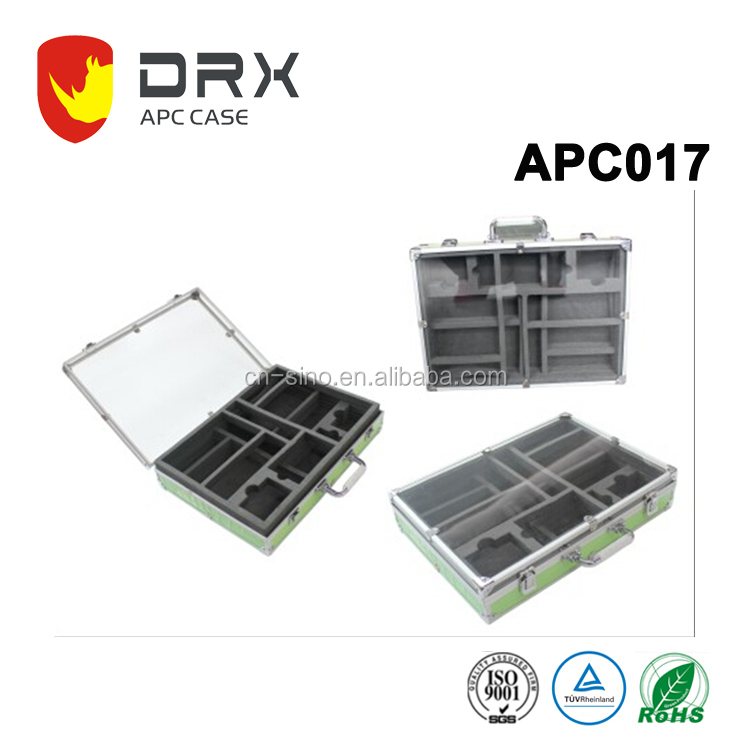 Aluminum Clear Metal Trolley Tool Case with Foam