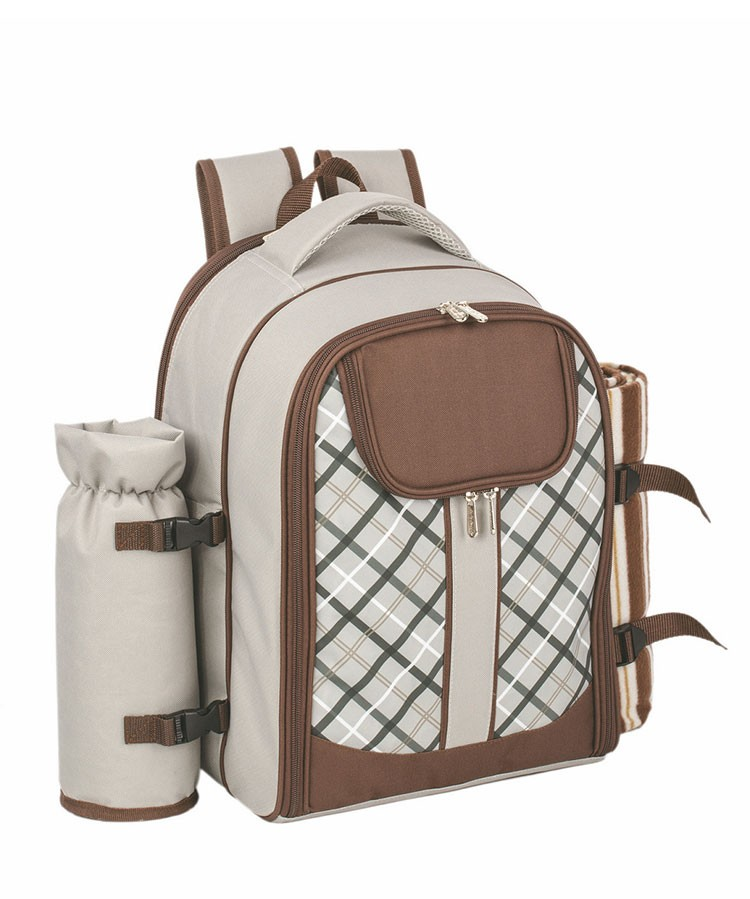 Outdoor Hot 4 Person Picnic Backpack with cooler compartment