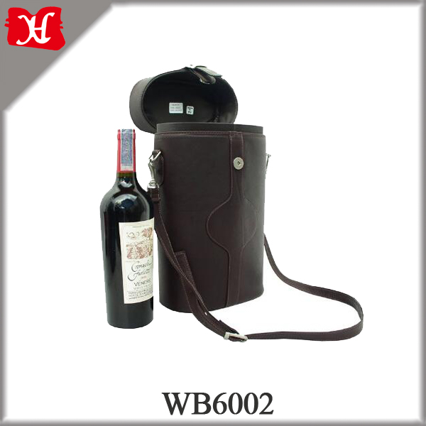 Wholesale High Quality Leather Wine carry Bag with double bottle carrier