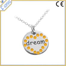 Dream Round Engraved Necklace With Rhinestone Heart