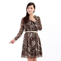 fashion dress 8067 Japan and South Korea spring and summer plant prints stand-up collar single-breasted long-sleeved dress dre