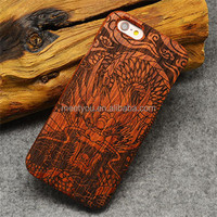 Laser engrave carved cell phone cases cool Dragon Roar shape custom cell phone wooden case for iphone 4 4S