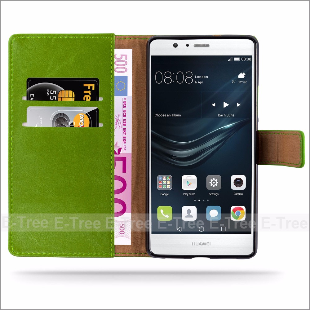 Premium Pu Leather Wallet Card Slot Stand Case Cover For Huawei P9 Lite