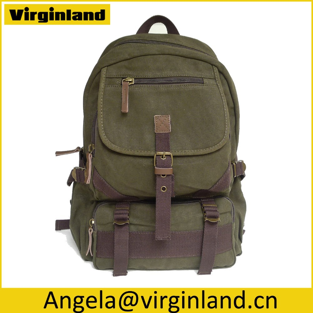 493 Army Green Practical School Durable Canvas Backpack With Multi-pockets