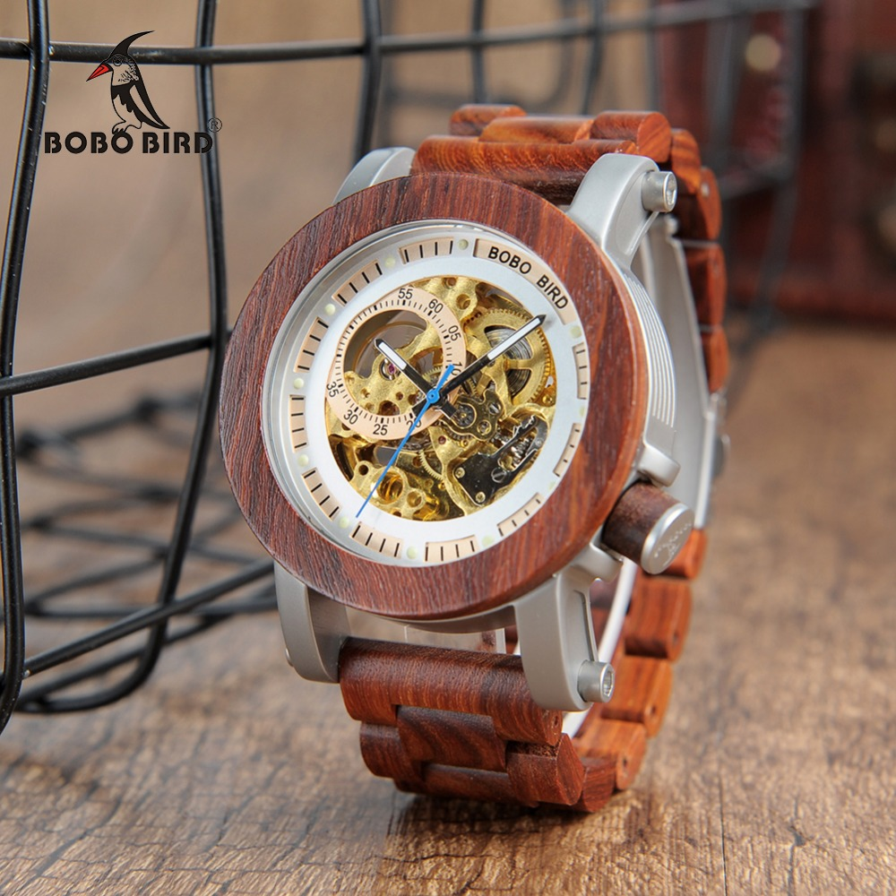 BOBO BIRD Automatic Self-Wind Strap Wood Stem-windder Luxury Mens Watches Timpieces Clock