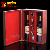 Magnet Closure plain wooden wine box with red Velvet