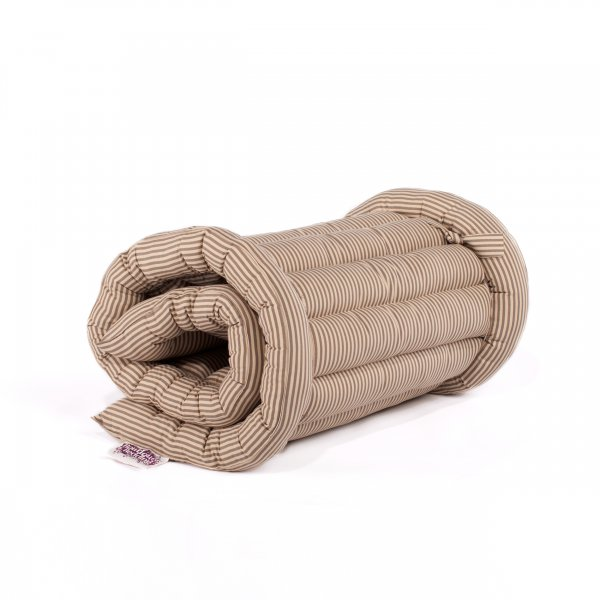 (Single) Taupe Stripe Roll Up Bed