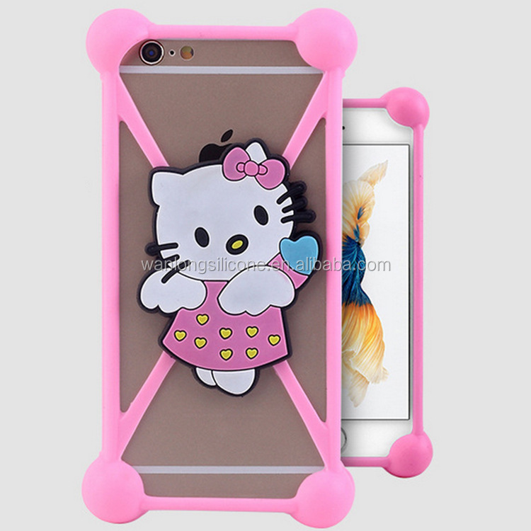 Silicone Pink Hello Kitty phone case for i phone 6