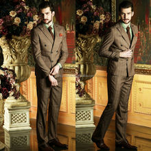 High Quality Brown Check Two-Row Buttons 2014 Wedding Suits For Men Fancy Business Men's Suits Unique Design NB0571