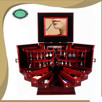 Modern style cosmetic box with mirror in cherry