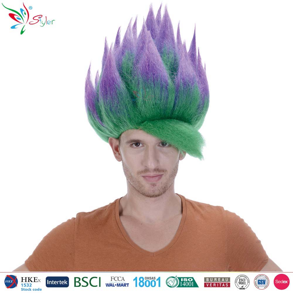 wholesale best quality green synthetic hair wig naruto cosplay wig men hot selling ombre big troll wig