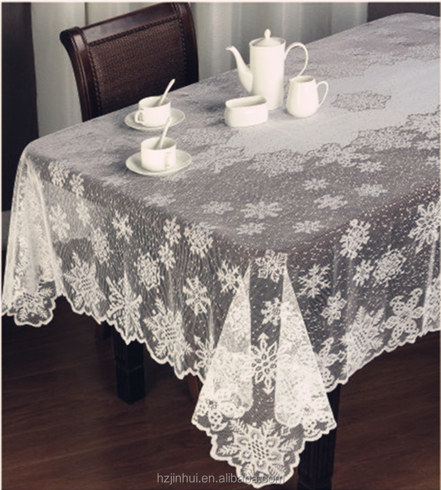 Polyester Lace Snow Flake Christmas Holiday White Lace Table Cloth