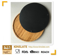 slate cheese lazy susan in wooden tray