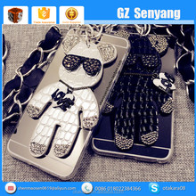 China Supplier Cute Bear With Diamond Crown 3d Animal Mobile Phone Case For 6 6s Plus